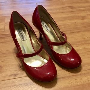Steve Madden candy apple red Mary Janes